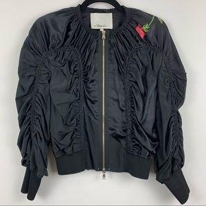 3.1 Phillip Lim Rouched Silk Flight Jacket Black